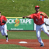 Eric Bonzar—The Morning Journal<br /> Crushers' Carlos Avila throws a runner out at first base, May 18, 2016.