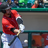 Eric Bonzar—The Morning Journal<br /> Crushers' Brendan Costantino hits a single in the bottom of the eighth inning, May, 18, 2016. Costantino went one-for-three in the Crushers' 3-0 win over the Schaumburg Boomers.