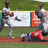 Eric Bonzar—The Morning Journal<br /> Crushers' Connor Oliver slides into a force-out at second, May 18, 2016.