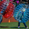 Eric Bonzar—The Morning Journal<br /> Fans slug it out in inflatable body suits, between innings, May 18, 2016.