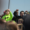 Eric Bonzar—The Morning Journal<br /> Young Crushers fans celebrate the team's 3-0 win over the Schaumburg Boomers, May 18, 2016.