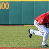 Eric Bonzar—The Morning Journal<br /> The Crushers' second baseman Carlos Avila fields a grounder, in the top of the first inning,  June 17, 2016.