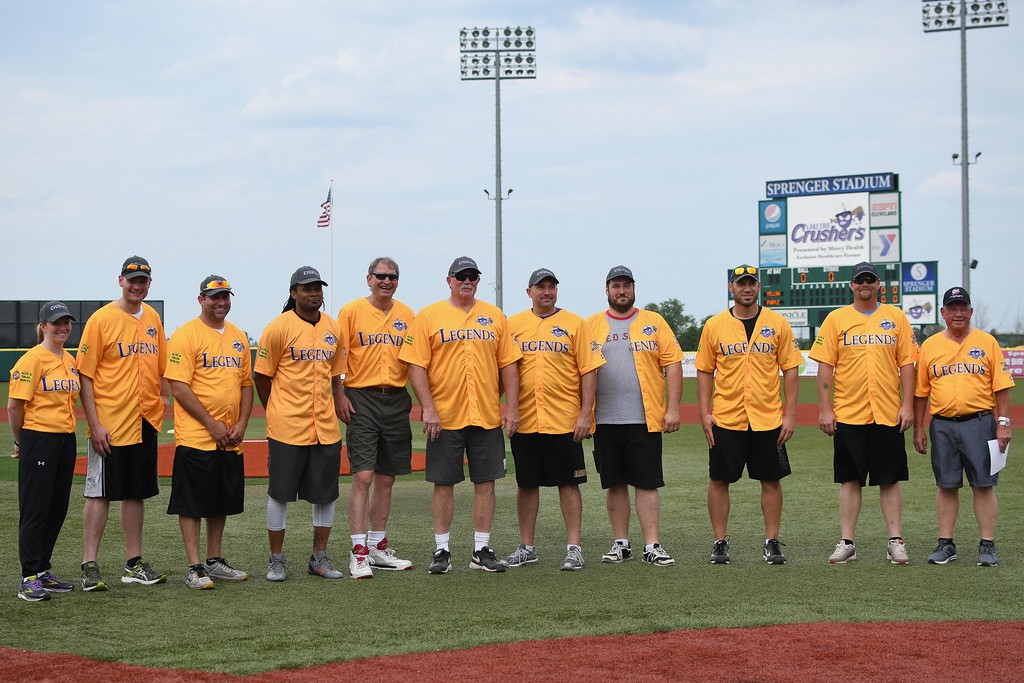 . Eric Bonzar�Thee Morning Journal Legends from the grid iron and the field of dreams came together for a night of laughs, memories and a little bit of softball for the inaugural Cleveland Sports Legend Game held at the Lake Erie Crushers\' Sprenger Stadium, June 17, 2017.