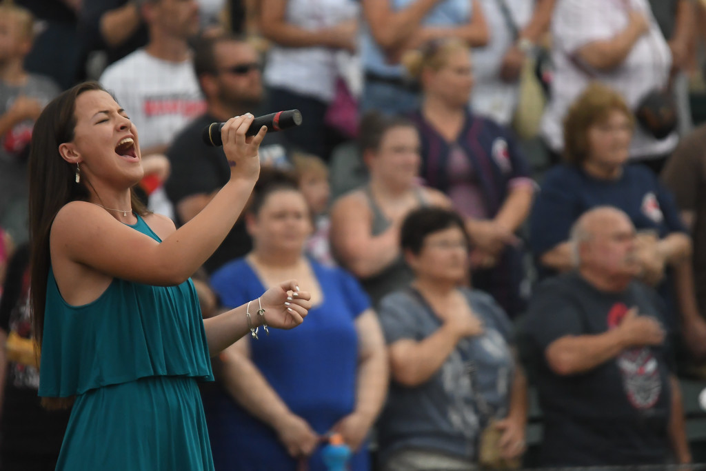 . Eric Bonzar�Thee Morning Journal Anna Scott sings the National Anthem for the inaugural Cleveland Sports Legend Game held at the Lake Erie Crushers\' Sprenger Stadium, June 17, 2017.