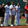 Jon Behm - The Morning Journal<br> Area veterans were honored on the field prior to the Crushers' game against Evansville on July 4, 2017.