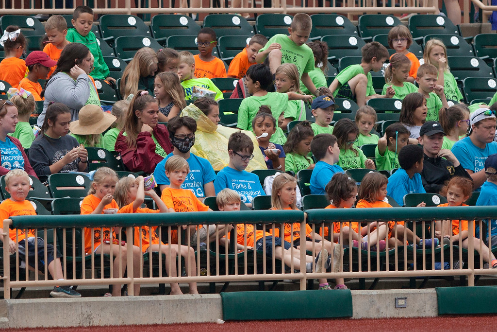 . Jen Forbus - The Morning Journal<br> The stands at Sprenger Stadium were awash with bright colors Aug. 1 as various student summer camps were in attendance for the Crushers game against the Grizzlies.