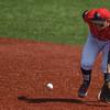 Eric Bonzar—The Morning Journal<br /> Crushers second baseman Max Casper fields an infield ground ball, Aug. 3, 2016.