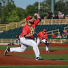 Eric Bonzar—The Morning Journal<br /> Starting pitcher Todd Kibby takes the mound for the Crushers' game against the Evansville Otters , July 1, 2016.