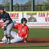 Eric Bonzar—The Morning Journal<br /> Crushers' right fielder Justin Byrd slides into a force out at second base.