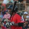 Eric Bonzar—The Morning Journal<br /> Crushers' designated hitter Marquis Riley steps to the plate against the Evansville Otters, July 1, 2016.