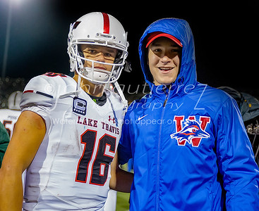 Two star senior quarterbacks, Lake Travis' Charlie Brewer and Westlake's Sam Ehlinger stand for a photo following the playoff game held at Kelley Reeves Sports Complex on Friday December 2, 2016. JOHN GUTIERREZ FOR AMERICAN STATESMAN