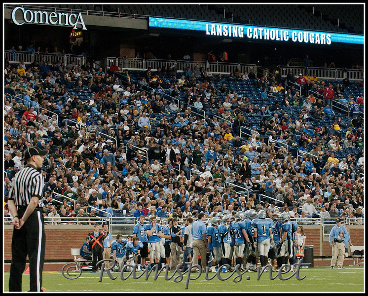 Lansing Catholic team and fans during a second half time out vs Flint Powers Catholic, Ford Field Detroit MI.