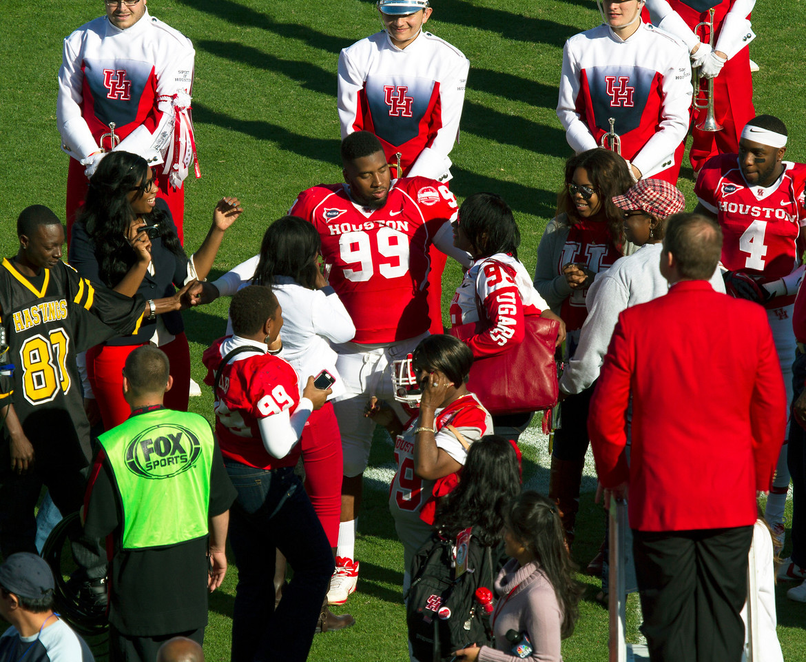 D. J. Hayden, back from near-death in a practice accident.  Every UH player will wear his name today.