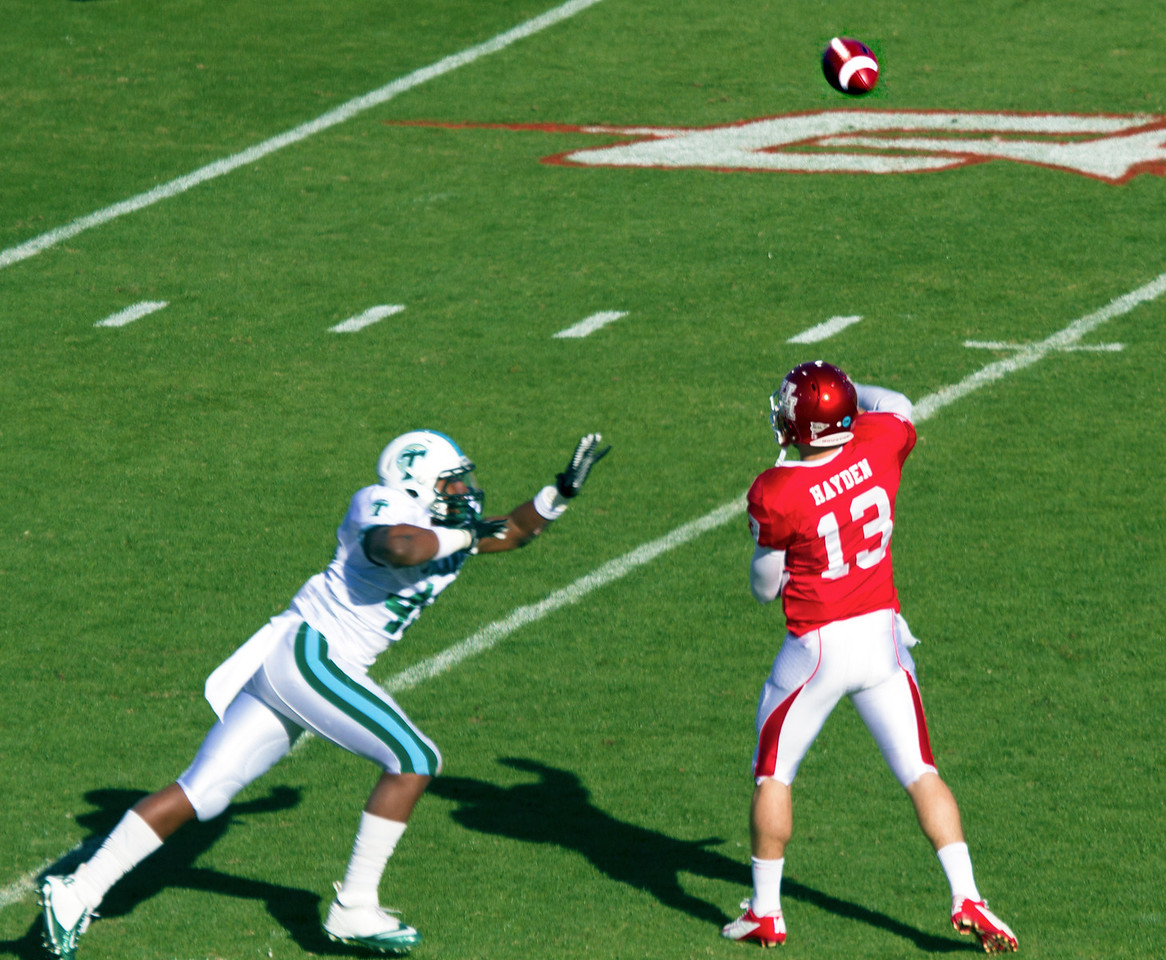 Houston quarterback Jones passing the ball