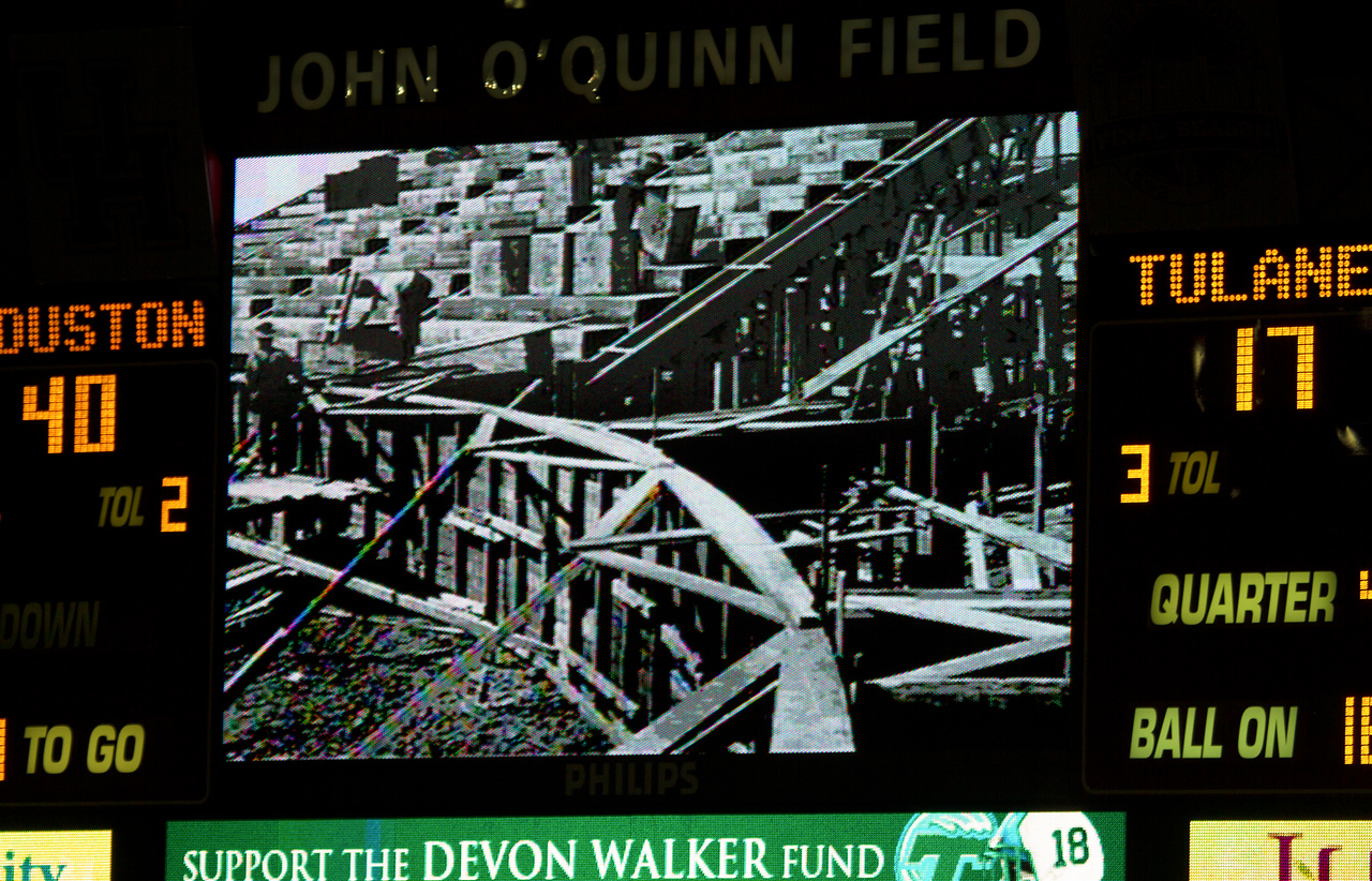 Last game over: UH 40, Tulane 17.  Scoreboard displays original stadium construction.