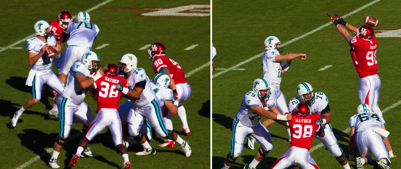 Tulane quarterback Griffin passing over Bamfo and Riser