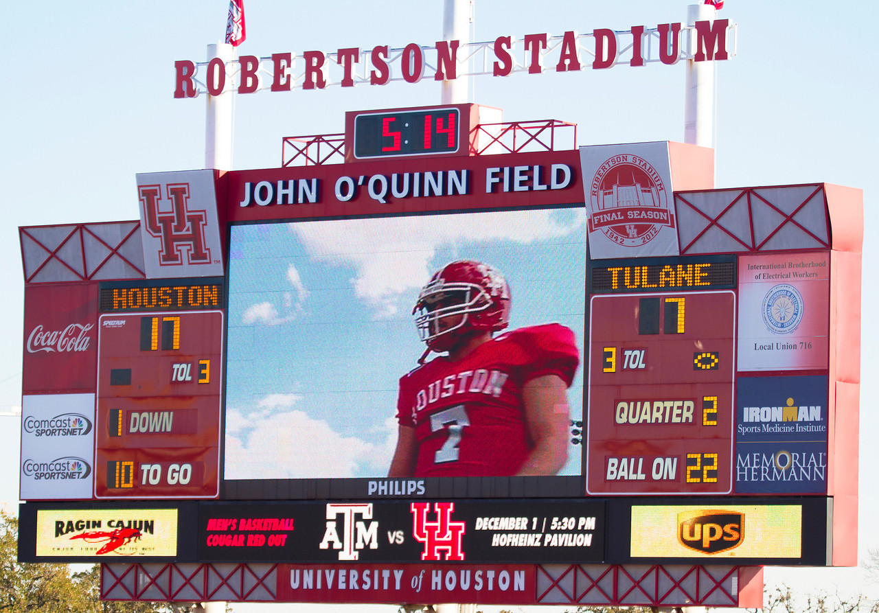 Last looks at the Stadium scoreboard -- the player is Case Keenum