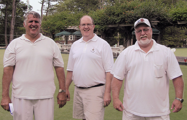The 2nd place team<br /> Maurice Lafond, skip; Tee Adams, lead; and Bob Patterson.