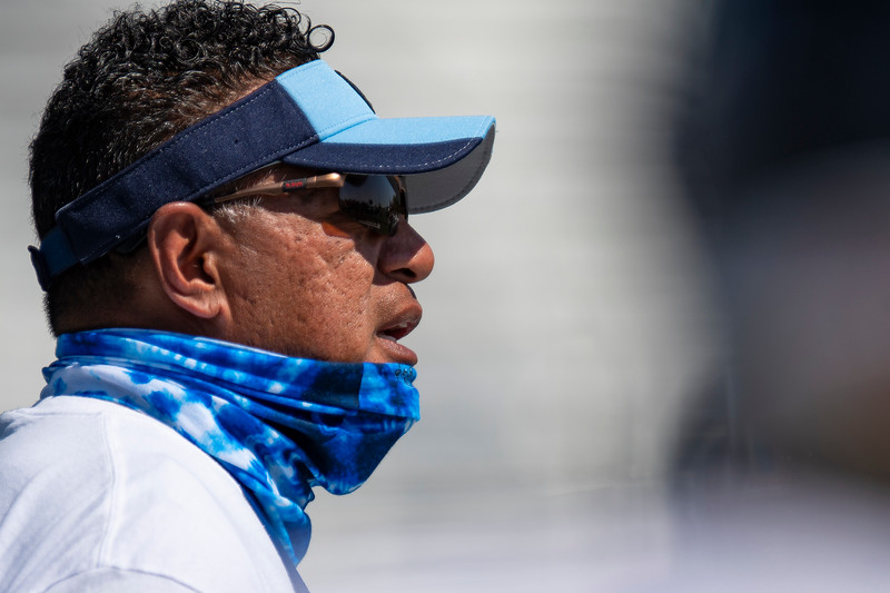Layton head coach Fotu Katoa runs practice to prepare for the 2020 season, At Layton High School, on August 6, 2020.
