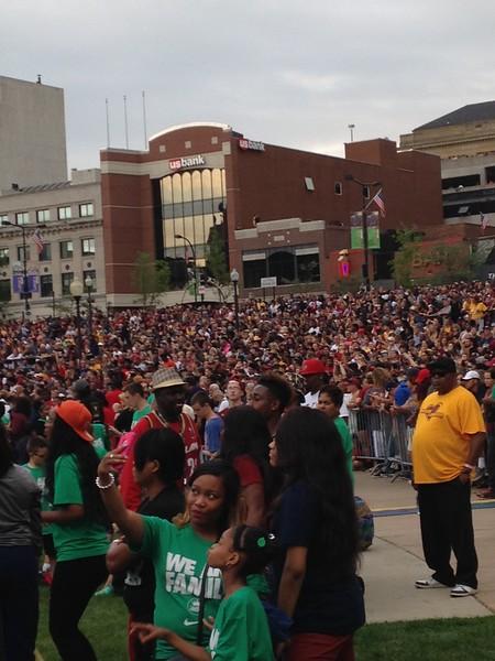 LAWRENCE PANTAGES/GAZETTE Crowds gather in Akron for LeBron James' championship celebration on Thursday, June 23.