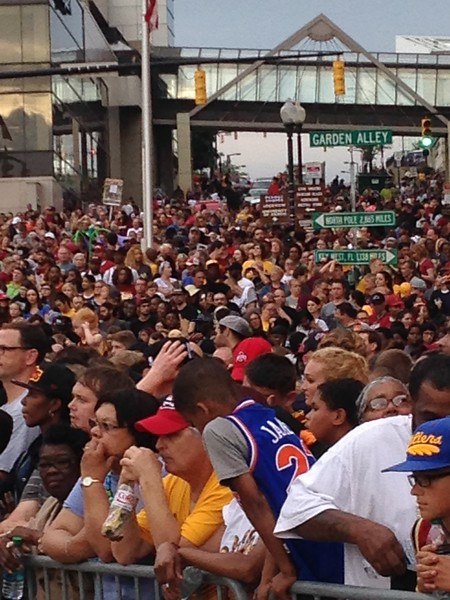 LAWRENCE PANTAGES/GAZETTE Crowds gather in Akron for LeBron James' championship celebration on Thursday, June 23.