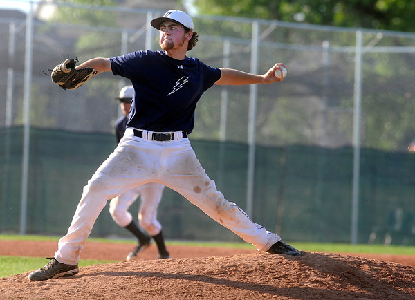 Legacy pitcher Zach Davis throws a pitch during a legion baseball game against  Gershkoff Auto Body's on Wednesday, July 11, at Legacy High School in Broomfield. <br /> Jeremy Papasso/ Boulder Daily Camera