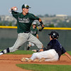 Legacy's Lucas Gilbreath is called out at second base after Rob Decosta makes a double play during a legion baseball game against  Gershkoff Auto Body's on Wednesday, July 11, at Legacy High School in Broomfield. <br /> Jeremy Papasso/ Boulder Daily Camera