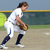 "Legacy High School's Paige Reichmuth stops a ground ball at short-stop before making an out at first base during a softball game against Standley Lake High School on Thursday, Aug. 23, at Legacy High School. Legacy won the game 5-1. For more photos of the game go to  <a href=""http://www.dailycamera.com"">http://www.dailycamera.com</a><br /> Jeremy Papasso/ Camera"