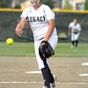 "Legacy High School pitcher Haley Smith throws a strike during a softball game against Standley Lake High School on Thursday, Aug. 23, at Legacy High School. Legacy won the game 5-1. For more photos of the game go to  <a href=""http://www.dailycamera.com"">http://www.dailycamera.com</a><br /> Jeremy Papasso/ Camera"