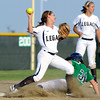 "Legacy High School's Paige Reichmuth makes an out on Rhianna May at second base during a softball game against Standley Lake High School on Thursday, Aug. 23, at Legacy High School. Legacy won the game 5-1. For more photos of the game go to  <a href=""http://www.dailycamera.com"">http://www.dailycamera.com</a><br /> Jeremy Papasso/ Camera"