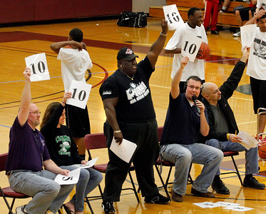 03/28/10 Judges respond to Midview's Nick Clark dunk contest efforts. Photo by Tom Mahl