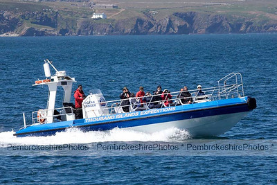 Pleasure boat near Ramsey Island