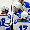 Leominster's Cam Cordio (center) celebrates his goal with teammates during Thursday's game against Gardner.<br /> SENTINEL & ENTERPRISE / BRETT CRAWFORD
