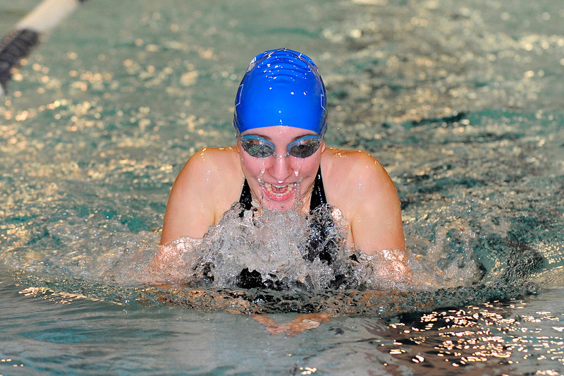 Leominster's Alexis Regopoulos competes in the 200 medley relay during Monday's swim-meet against Westboro, Monday.<br /> SENTINEL & ENTERPRISE / BRETT CRAWFORD