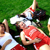(From left to right) Fairview seniors Isabel Galler, Tatum Jablonski, Maggie Nazarenes, and Eliza Gonzalez wait for their race before the Liberty Bell Cross Country meet at Heritage High School in Littleton, Friday, Sept. 18, 2009. <br /> <br />  DAILY CAMERA/ Kasia Broussalian