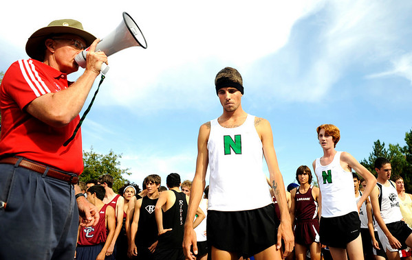 Niwot senior David Perry prepares at the start line before the start of the 4A division of the Liberty Bell Cross Country meet at Heritage High School in Littleton, Friday, Sept. 18, 2009. Perry won the division.<br /> <br />  DAILY CAMERA/ Kasia Broussalian