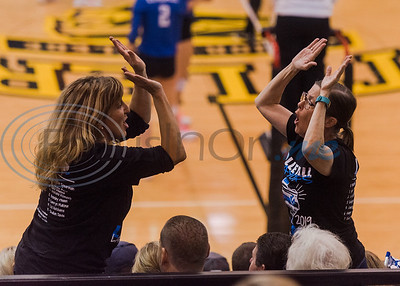Julie Steen (right) and Julie Goode cheer from the stands for Lindale's Shelbi Steen (7) during a 5A bi-district playoff match against John Tyler Tuesday, Nov. 5, 2019, at Wagstaff Gymnasium in Tyler. (Cara Campbell/Tyler Morning Telegraph)