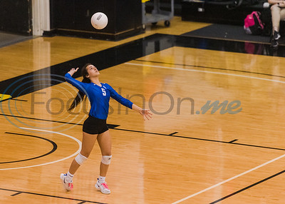 Lindale's Harleigh Thurman (5) serves the ball during a 5A bi-district playoff match against John Tyler Tuesday, Nov. 5, 2019, at Wagstaff Gymnasium in Tyler. (Cara Campbell/Tyler Morning Telegraph)