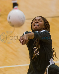 Michiah McFarland (8) bumps the ball during a 5A bi-district playoff match against Lindale Tuesday, Nov. 5, 2019, at Wagstaff Gymnasium in Tyler. (Cara Campbell/Tyler Morning Telegraph)