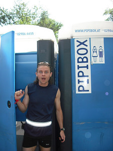 "After the race I'm caught coming out of the porta potty, aka ""pipibox""."