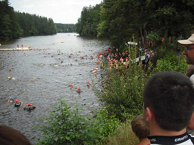 Swimmers collecting at the start.
