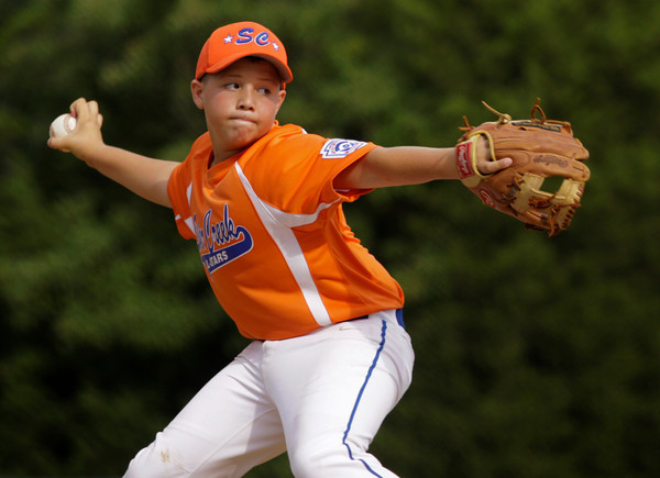 Silver Creek's Blayden McMahel pitches during the second inning of their game against Jeff/GRC in the 12-year-old District V Little League All-Star tournament in Charlestown on Thursday evening. Jeff/GRC won the game in five innings, 14-2. Staff photo by Christopher Fryer