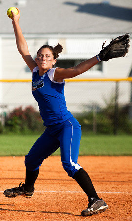 Charlestown's Lexi Logsdon pitches during the third inning of their game against Hebron in the state finals at Clarksville Little League Park on Saturday evening. Charlestown won the game in eight innings, 9-8. Staff photo by Christopher Fryer