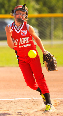 Jeff/GRC's Megan Ekart pitches during the first inning of their game against Silver Creek in the 10-year-old District V Little League All-Star tournament in Charlestown on Friday evening. Staff photo by Christopher Fryer
