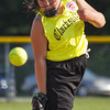 Clarksville's Brianna Hall pitches in the third inning of their game against New Albany during the District V Little League All-Star Tournament in Charlestown on Thursday evening. New Albany won the game 9-2. Staff photo by Christopher Fryer