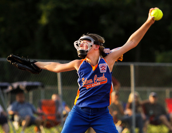 Silver Creek's Abby Whitlock pitches during the fourth inning of their game against New Albany in the District 5, 11-12-year-old softball championship game at Grant Line Elementary School on Tuesday. New Albany won the game, 5-2. Staff photo by Christopher Fryer