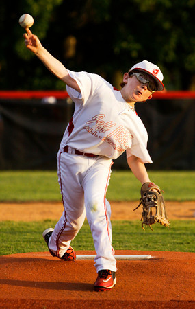 Jeff/GRC's Eli Watson pitches during their game against New Albany in the 9-10-year-old District 5 championship game in New Albany on Saturday. New Albany won the game, 3-0. Staff photo by Christopher Fryer