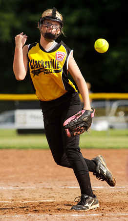 Clarksville's Grace Seward pitches during their game against Silver Creek at Grant Line Elementary School in New Albany on Tuesday. Clarksville won the game after eight innings, 11-7. Staff photo by Christopher Fryer