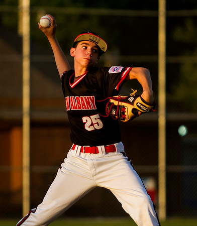 Hunter Sprigler pitches during New Albany's game against Jeff/GRC at the 11-12-year-old District 5 tournament in Sellersburg on Monday. Staff photo by Christopher Fryer