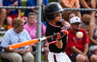 New Albany Maxwell Alexander swings at a pitch during New Albany's 8-5 win over Silver Creek for the District 5 Little League Minor Championship on Saturday in Sellersburg. Staff photo by Tyler Stewart
